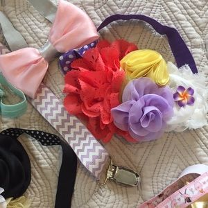 Accessories - Bow, headband, hat, pacifier clip bundle